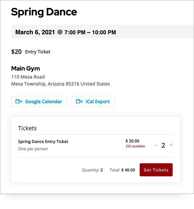 Screenshot of PTO ticket sales