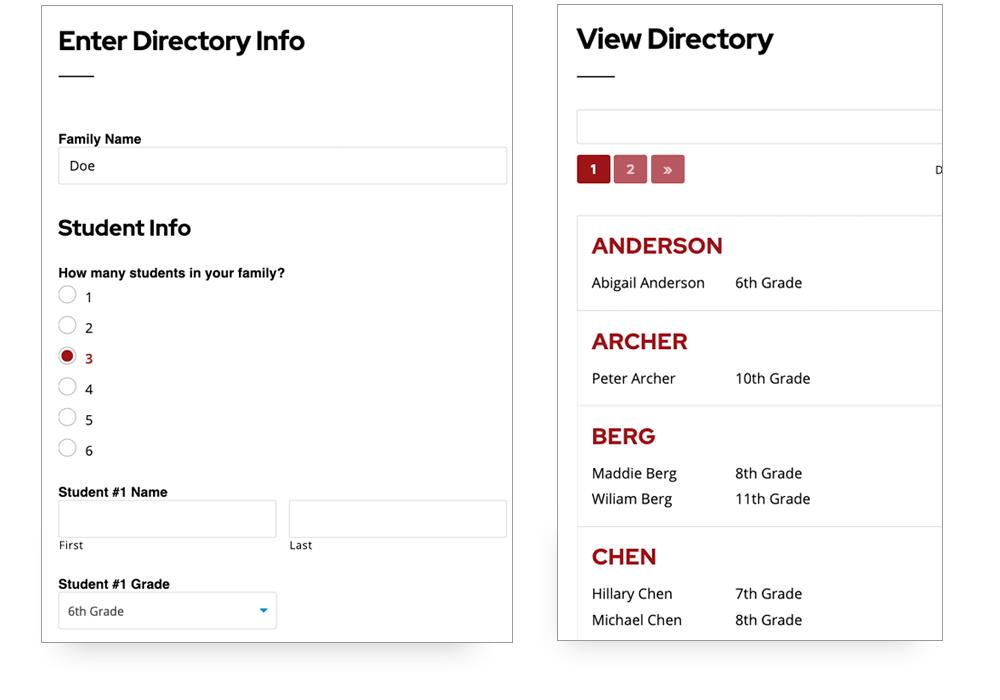 Screenshots of PTO Student Directory